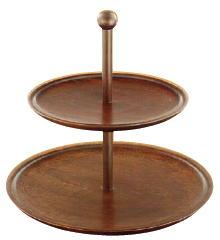木製 丸 二段式デザート皿 古代色